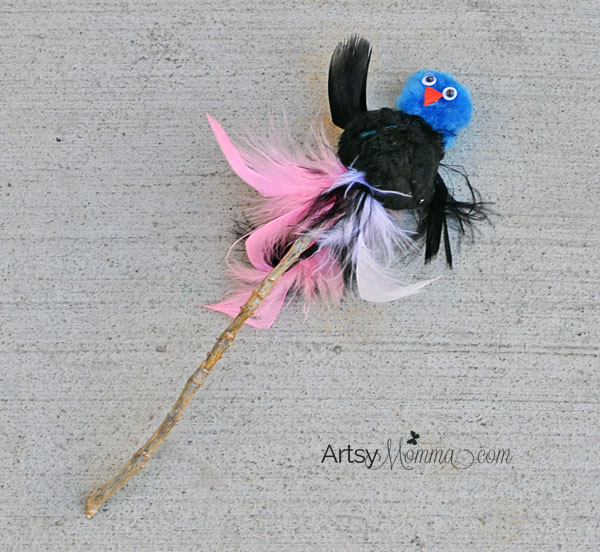Pom Pom Bird On A Stick Puppet Craft