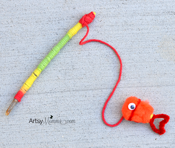 Yarn Wrapped Stick Fishing Pole Craft for Kids