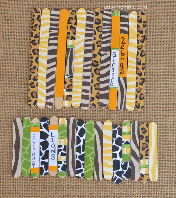 Patterned Jungle Safari Animal Craft Sticks for Imaginative Play