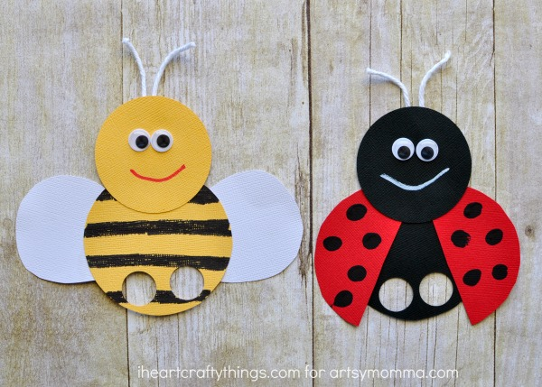 Mega adorable ladybug finger puppet artsy momma for Paper plate puppets templates