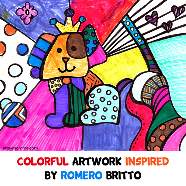 Colorful Artwork Inspired By Romero Britto - Pop Art + Cubism