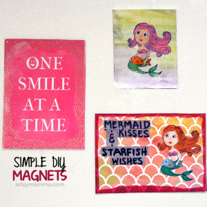DIY Mixed Media Mermaid Magnets