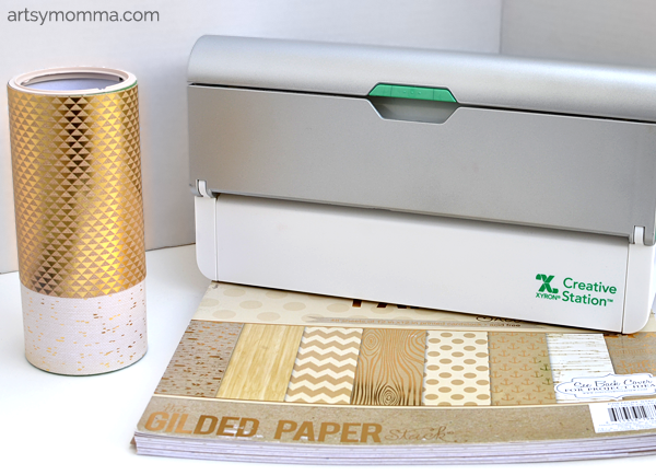 DCWV Gilded Paper Upcycled Tissue Box Craft using Xyron Creative Station