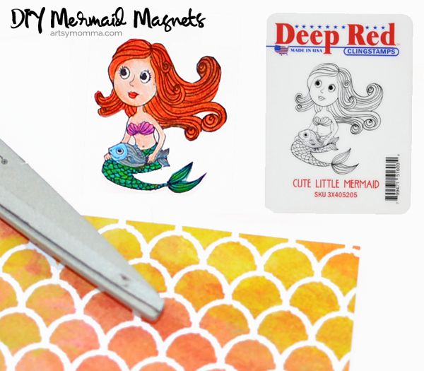 Cute Little Mermaid Deep Red Stamps Craft Tutorial