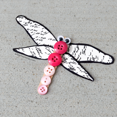 Kids Dragonfly Craft Using Buttons