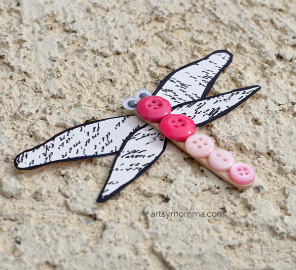 Easy Button Dragonfly Craft for Kids