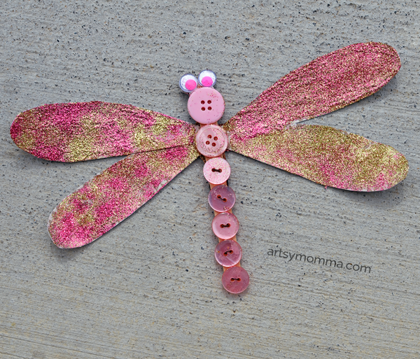 Sparkly Dragonfly Button Craft for All Ages!