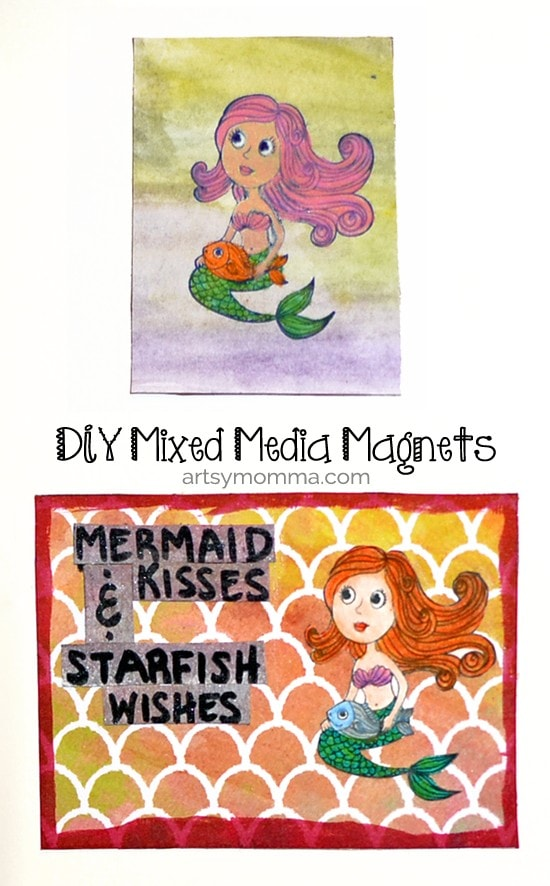 Simple DIY Mixed Media Mermaid Magnet Tutorial