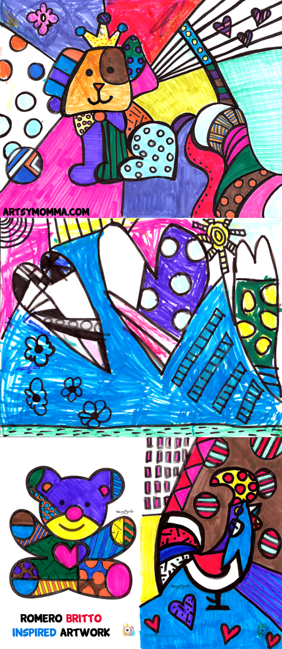 Vibrant Drawing Inspired by Pop Artist Romero Britto - Learning About Famous Artist for Kids