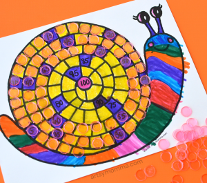 Count to 100 Printable Snail Math Activity for Preschoolers