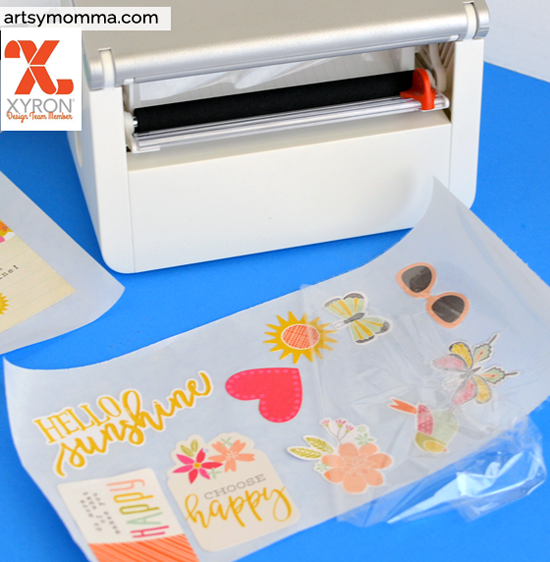 Using the Xyron Creatove Station Lite and Simple Stories Sunshine & Happiness Pack