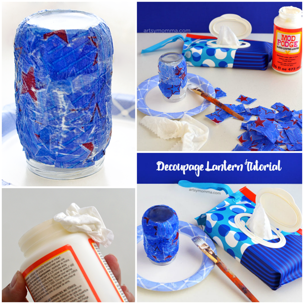 Easy Decoupage Red White & Blue Lantern Tutorial