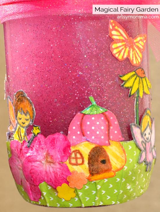 Sparkly Stamped Fairy Garden Jar Tutorial