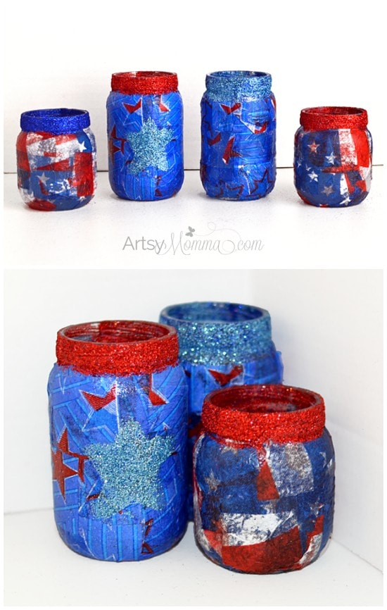 DIY Baby Food Jar 4th of July Lanterns using Tissue Paper
