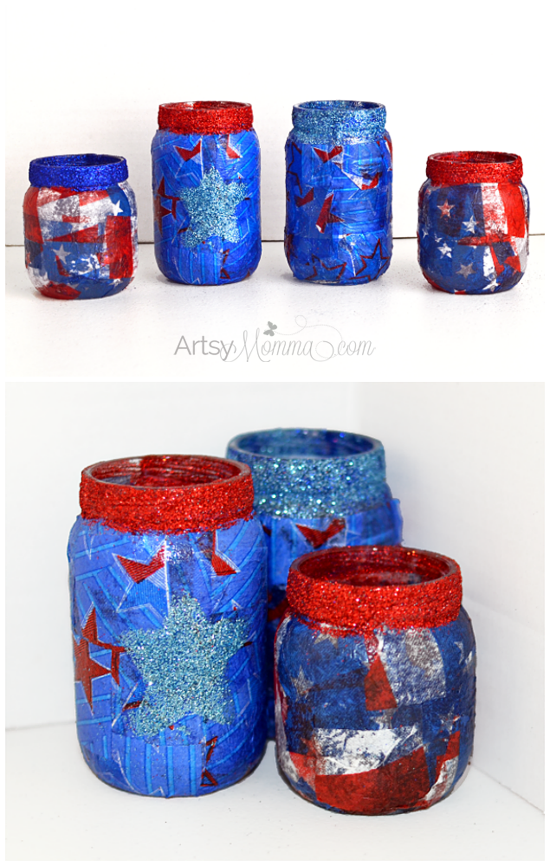 DIY 4th of July Lantern Craft - Upcycled Baby Food Jars