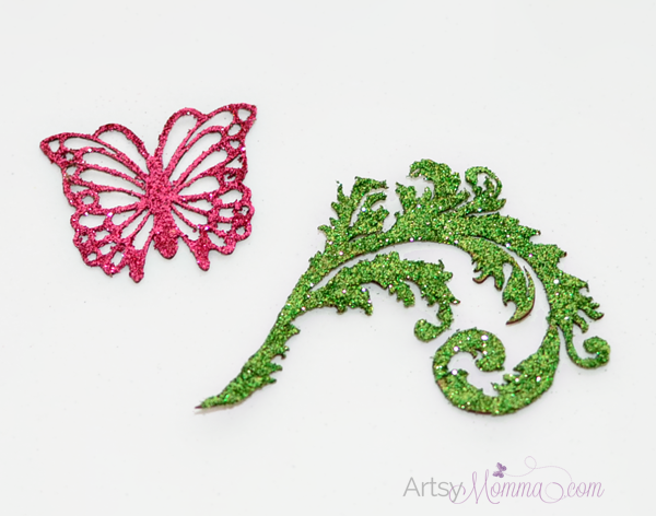 Glitter Embellished Butterfly Chipboard Project Idea