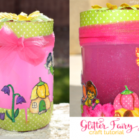 Sparkly Stamped Fairy Garden Jar Tutorial