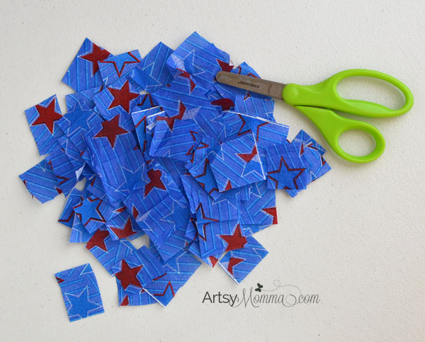 4th of July Tissue Paper Lantern Craft