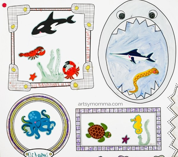 Kids Under the Sea Sticker Drawing Prompt