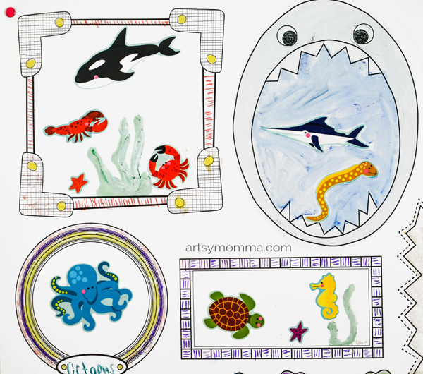 Marvelous Kids Under the Sea Sticker Drawing Prompt