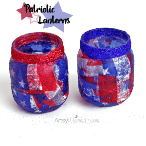 Patriotic Lantern Craft Using Tissue Paper
