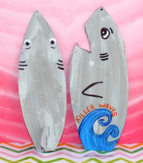 How to make a Shark Surfboard Craft from Recycled Cereal Boxes