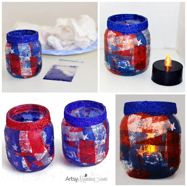 Decoupage Patriotic 4th of July Lantern Craft Tutorial