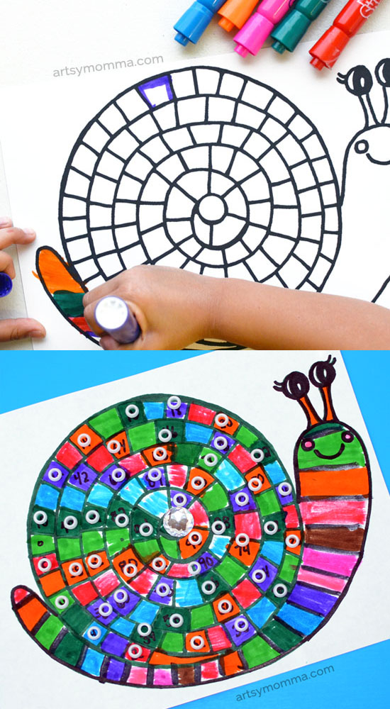 Printable Snail Coloring Page & Math Activity - Counting to 100 by ones, twos, fives, & tens