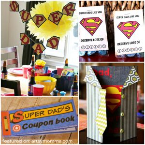 Super Dad Card, Coupon Book, Treat Bag Printable & Party Ideas for a Super Dad Theme