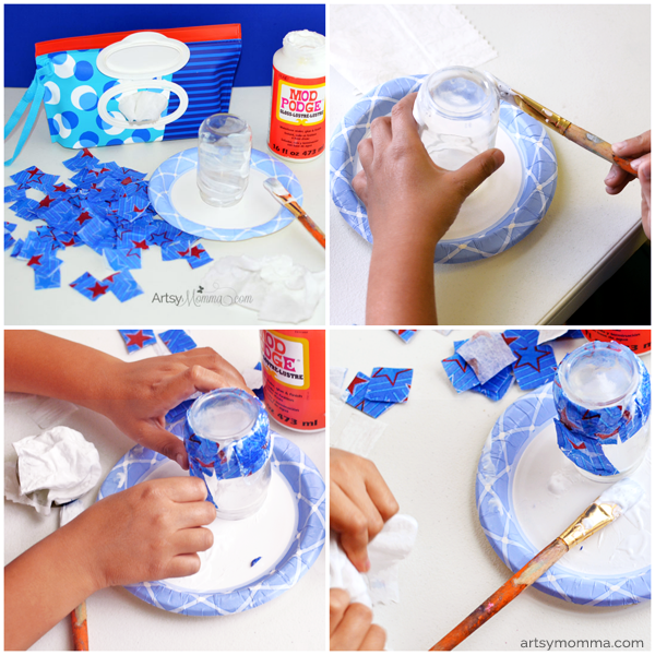 DIY 4th of July Lantern Craft for Kids - Applying Mod Podge