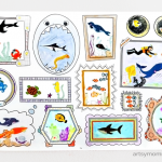 Ocean Stickers Drawing Prompt - erasable wall decal from Plaeful