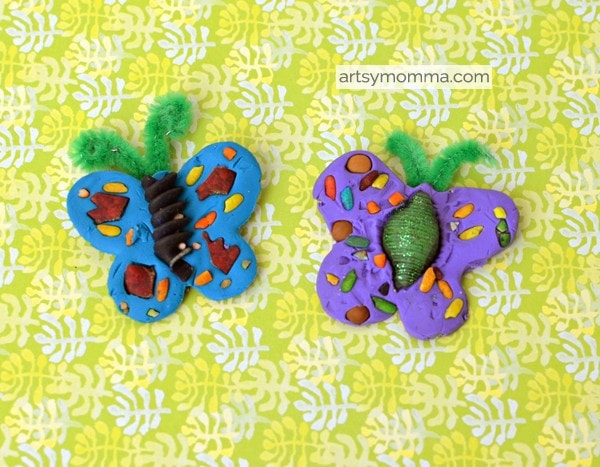 Clay Butterfly Pasta Art Project for Kids