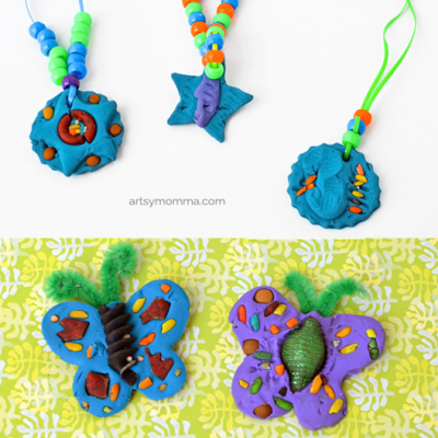 Colored Pasta and Clay Craft Idea for Kids