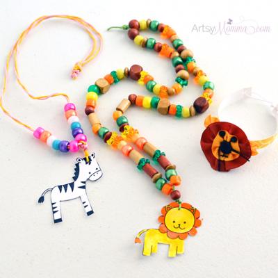 DIY Jungle Animal Stamped Jewelry – Laminated Kids Craft