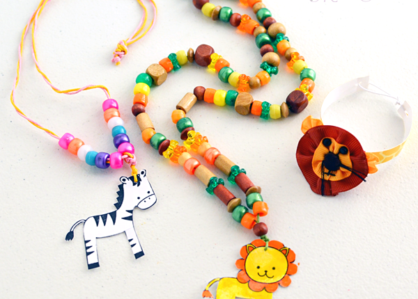 DIY Jungle Animal Stamped Jewelry – Laminated Kids Craft