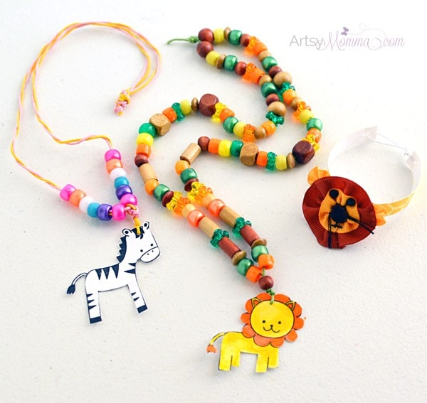 Kids Jewelry Craft using a Laminator, Beads & Stamps