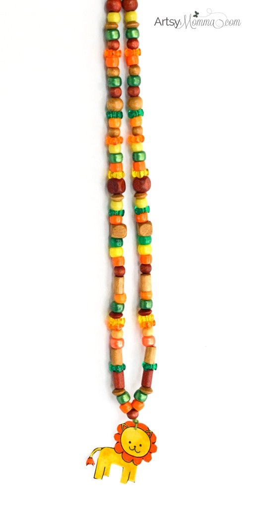 Beaded Necklace Craft for Kids - Jungle Safari Theme