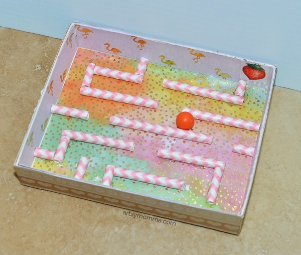 Use straws to design your own maze for a marble!