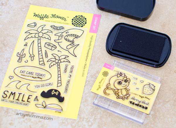 Waffle Flower Stamp Craft - Shark & Monkey