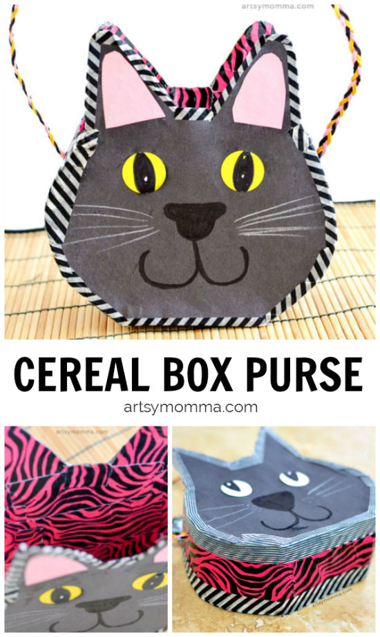 Black Cat Cereal Box Purse Craft