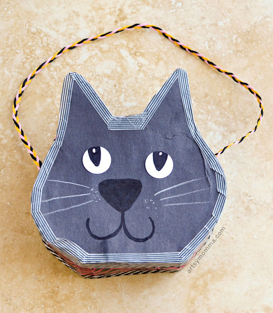 Cereal Box Purse Tutorial that looks like a Black Cat for Halloween Treats or Imaginative Play