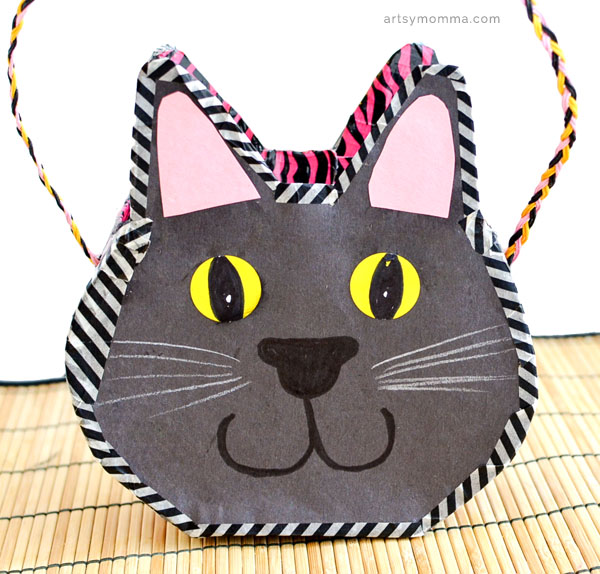 DIY Cereal Box Black Cat Purse Craft for Kids