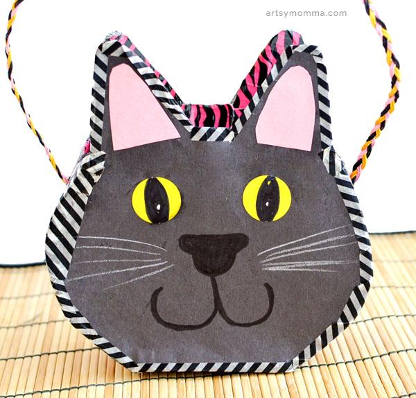 DIY Cereal Box Black Cat Purse Craft for Kids