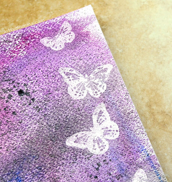 Resist Art with Goosebumps and a Butterfly Stamp