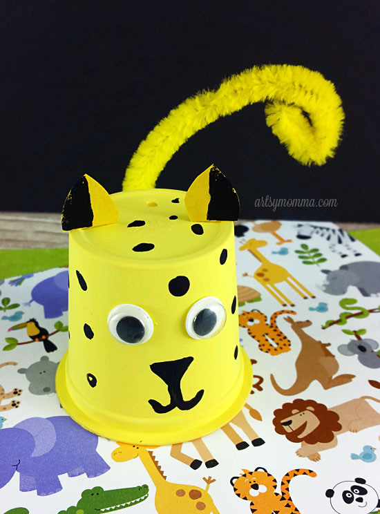 Recycle a k cup into a super cute Cheetah Craft!