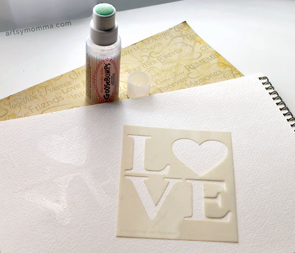 Love Stencil Ink Resist Art