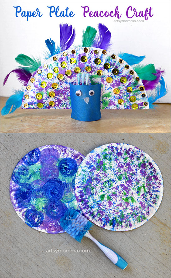 Painted Paper Plate Peacock Craft for Kids