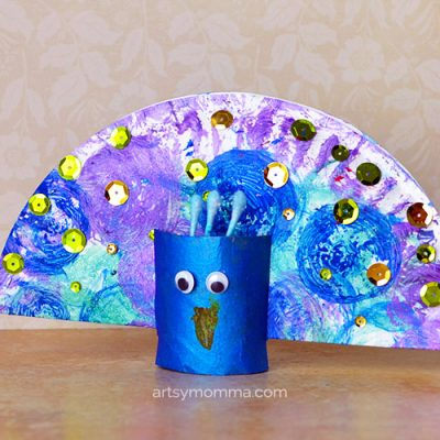 Pretty Peacock Craft – Dish Brush Painting