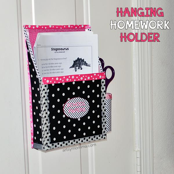 DIY Magnetic Hanging Homework Holder - Upcycled Cereal Box Craft