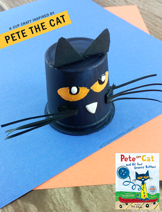 Read Pete the Cat and His Four Groovy Buttons & then make a Recycled K Cup Pete the Cat Craft!